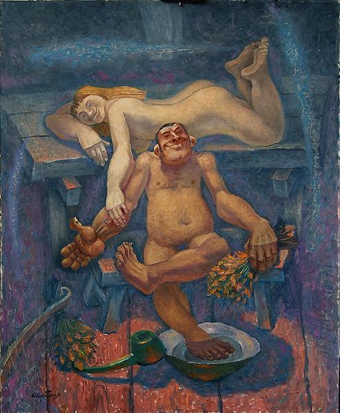 Картина художника Евгения Шибанова - Русская баня